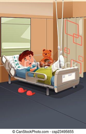 Kid With Broken Leg In The Hospital A Vector Illustration Of Kid