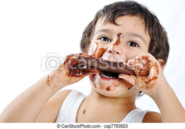 Kid with chocolate - csp7783823