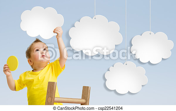 Kid with ladder attaching clouds to sky concept - csp22541204