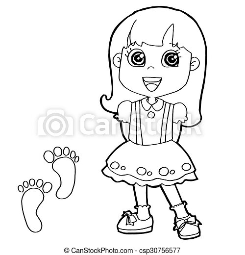 Image of kid with paw print coloring page vector .