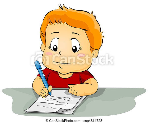 kid writing on paper illustration featuring a kid writing stock rh canstockphoto com Creative Writing Clip Art Student Writing Clip Art