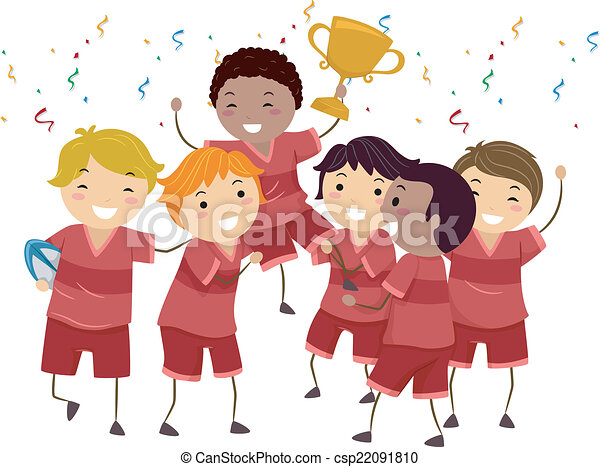 Kiddie Champions Illustration Featuring A Group Of Kids Vector