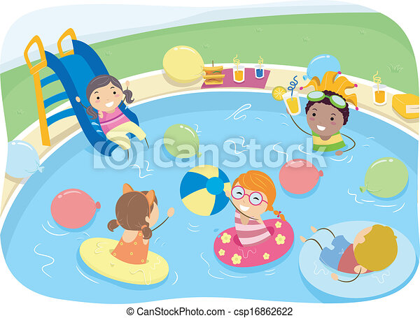 Kiddie pool party illustration of kids having a pool party for Free clipart swimming pool party