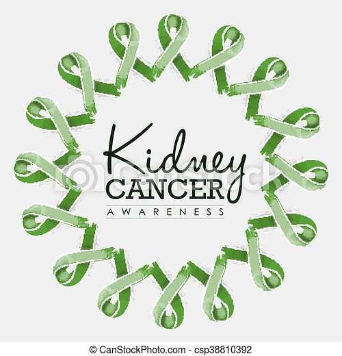kidney cancer awareness ribbon design with text kidney cancer