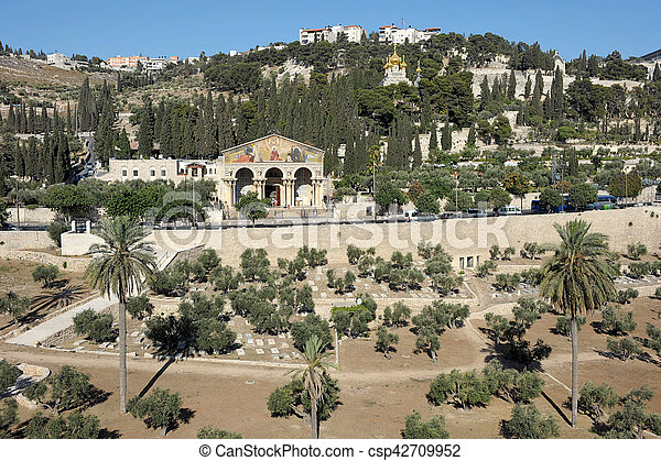 Kidron Valley and the Mount of Olives in Israel - csp42709952