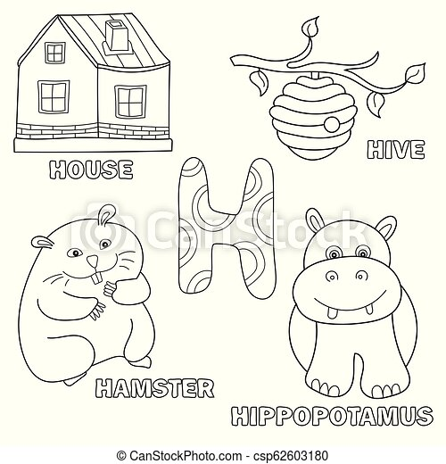 Kids alphabet coloring book page with outlined clip arts. letter h ...