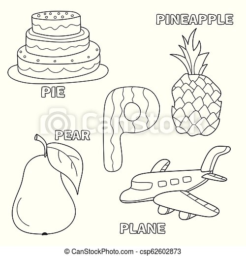 Kids Alphabet Coloring Book Page With Outlined Clip Arts Letter P