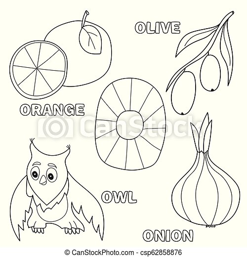 Kids alphabet coloring book page with outlined clip arts. letter o ...
