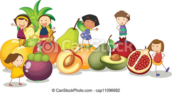 kids and fruits - csp11096682
