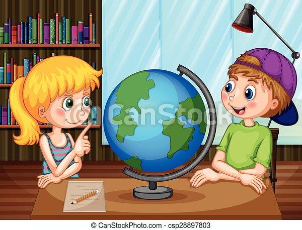 Kids and globe - csp28897803