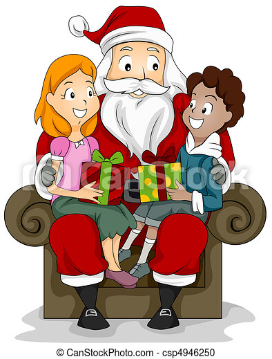 kids and santa illustration of a boy and girl sitting on stock rh canstockphoto com Santa Paintings Santa with Manger