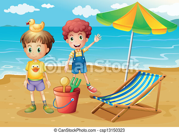 Kids At The Beach With An Umbrella And A Foldable Bed Vector