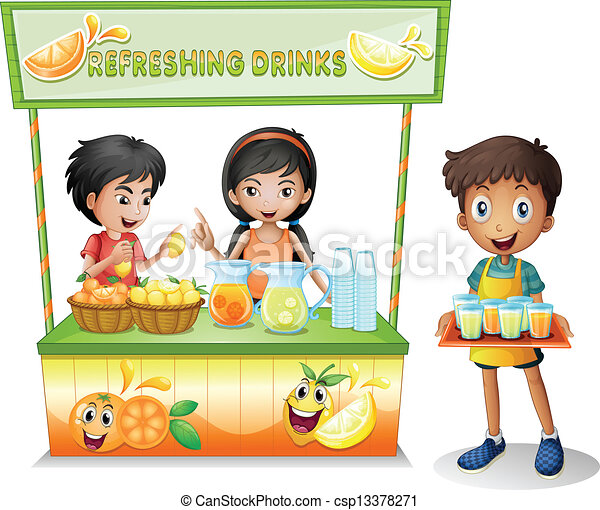 kids at the stall selling refreshing drinks illustration of the rh canstockphoto com sell clipart black and white sell clipart on etsy