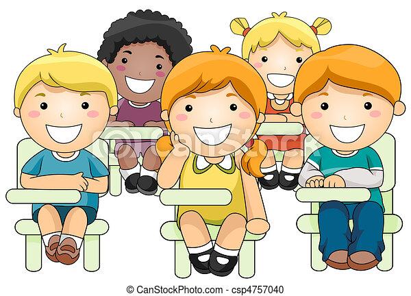 Kids Attending Class - csp4757040