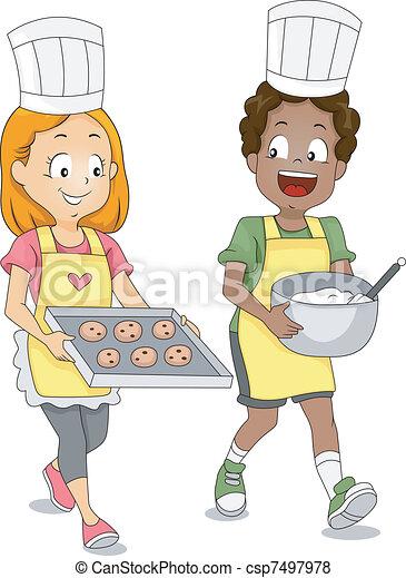 Kids Baking Cookies - csp7497978