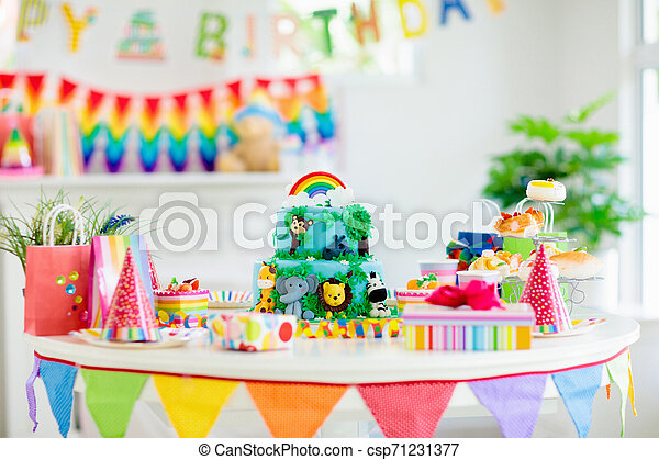 Fabulous Kids Birthday Cake Child Jungle Theme Party Cake For Kids Personalised Birthday Cards Beptaeletsinfo
