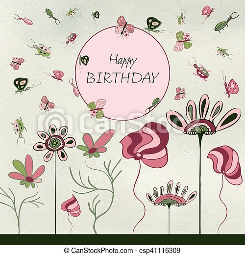 Kids Birthday Card Floral Greeting Card Doodle Flower Beetle And