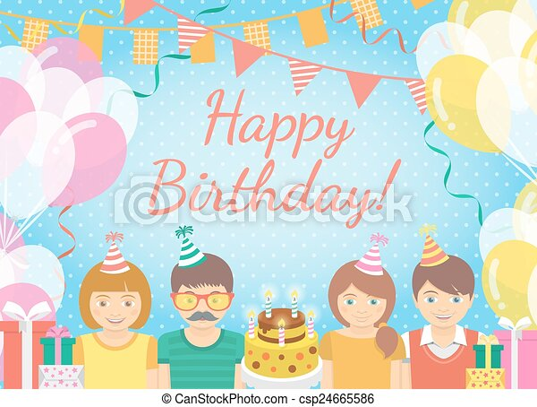 Kids birthday party background Modern flat colorful vector
