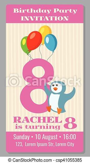 Kids birthday party cartoon animals invitation - csp41055385