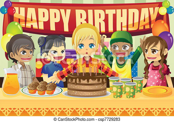 Kids birthday party A vector illustration of multiethnic