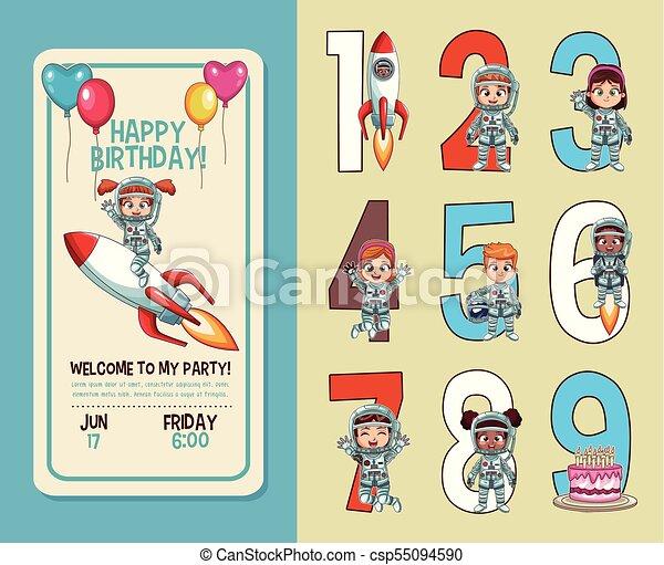 Kids birthday party invitation card with numbers vector illustration kids birthday party invitation card csp55094590 stopboris Choice Image