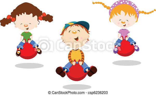 Kids Bouncing On Hopper Ball - csp6236203
