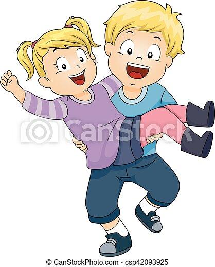 Kids Boy Carry Girl Sister