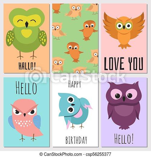Kids Cards With Cute Cartoon Owl Vector Owl Character On Card