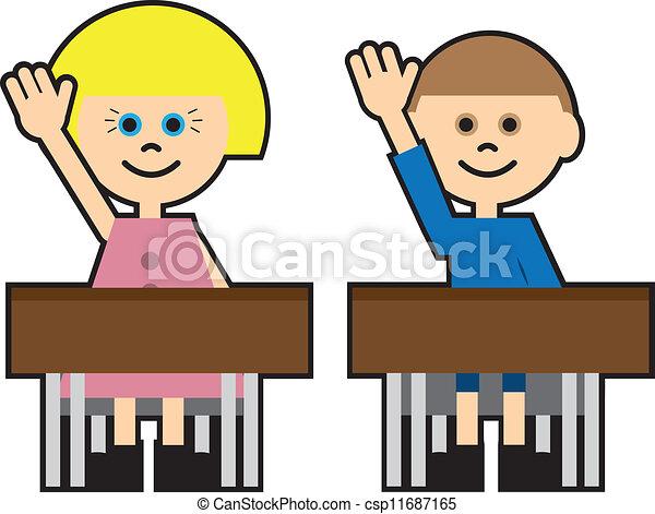 kids cartoon raising hands boy and girl in school raising clip rh canstockphoto com raise hand clipart raise up hand clipart