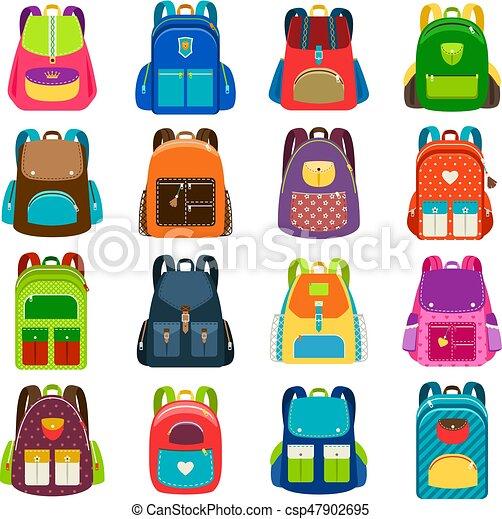 Kids cartoon schoolbag set. Kids schoolbag set isolated on white ... 224507f9ee