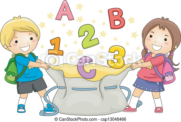 Kids Catching ABC's and 123's - csp13048466