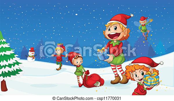Illustration Of Kids Celebrating Christmas Festival