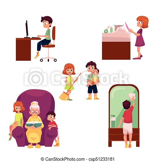 kids children home activities doing chores children at vector rh canstockphoto com chores clip art printable free free chore clip art
