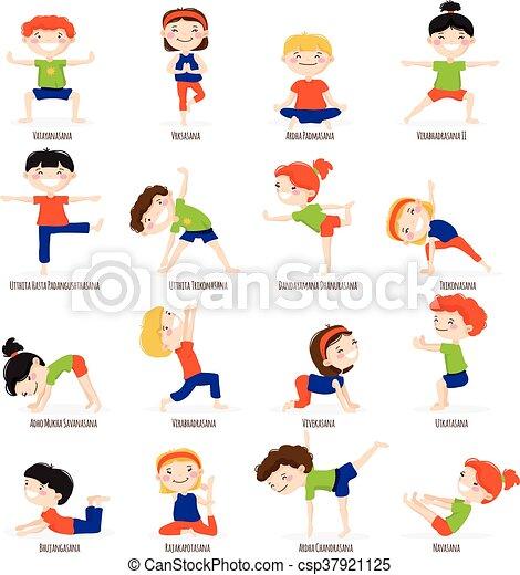 Kids Children Yoga Poses Cartoon Set