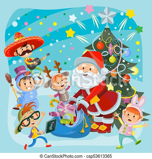 Kids Christmas carnival party vector illustration - csp53613365