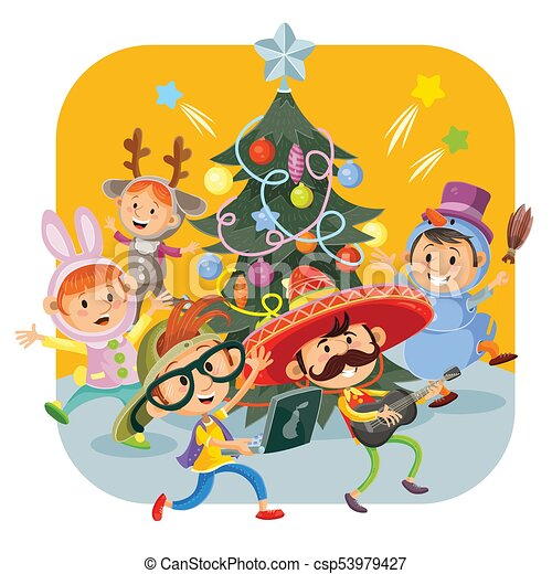 Kids Christmas Carnival Party Vector Illustration