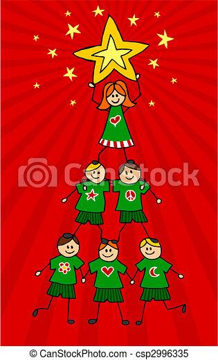 Kids Christmas Tree Children Climb Together To Form A Christmas