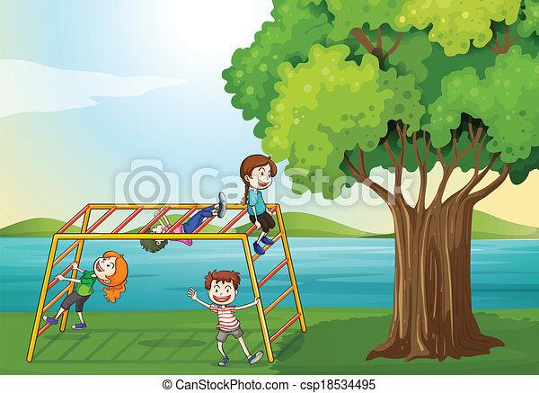 Kids Climbing Near The Tree Illustration Of The Kids Climbing Near
