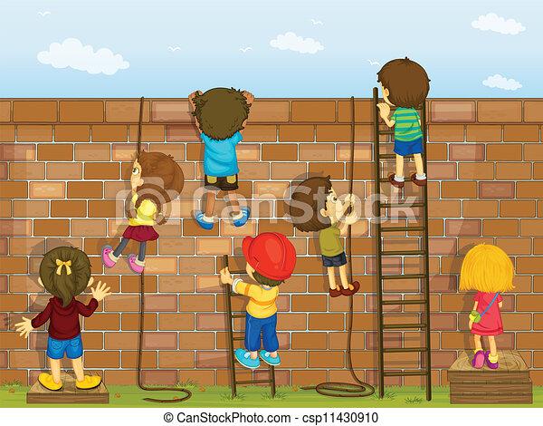 Kids climbing on a wall. Illustration of kids climbing on a brick wall.