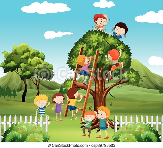 Kids Climbing Up Tree In The Park Illustration