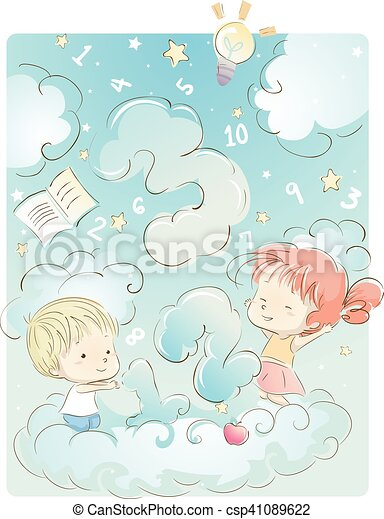 kids cloud numbers whimsical illustration of kids playing with rh canstockphoto com