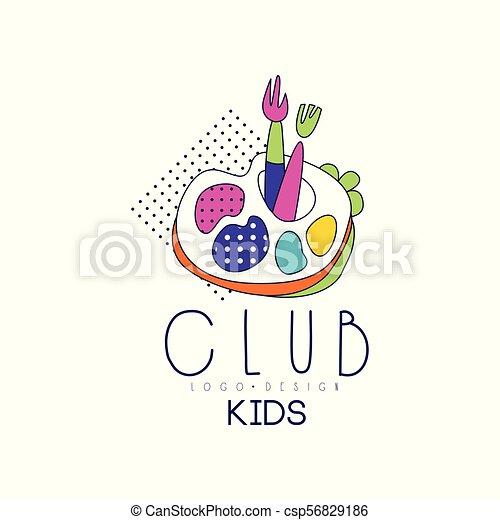 Kids Club Logo Design Bright Badge For Development Educational Or Sport Center Vector Illustration On A White Background
