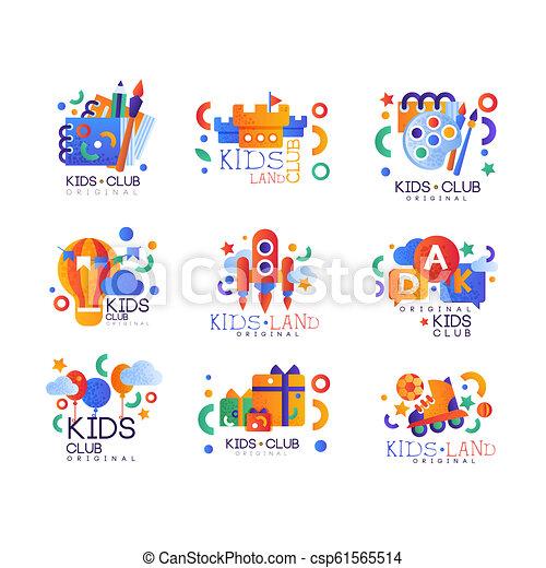 Kids Club Logo Original Set Creative Labels Templates Playground