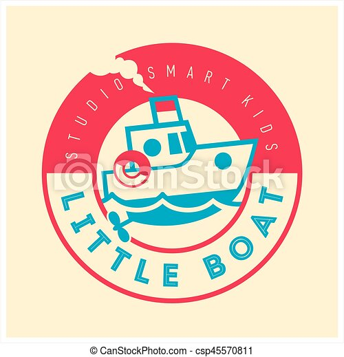 Kids club logo with little boat. Cute kindergarten sign. - csp45570811