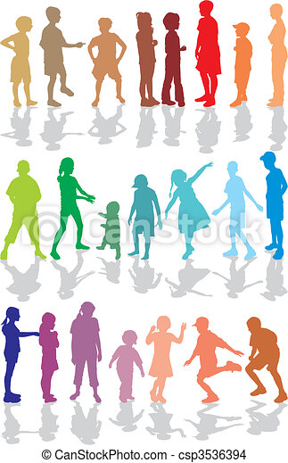Kids color silhouettes - csp3536394
