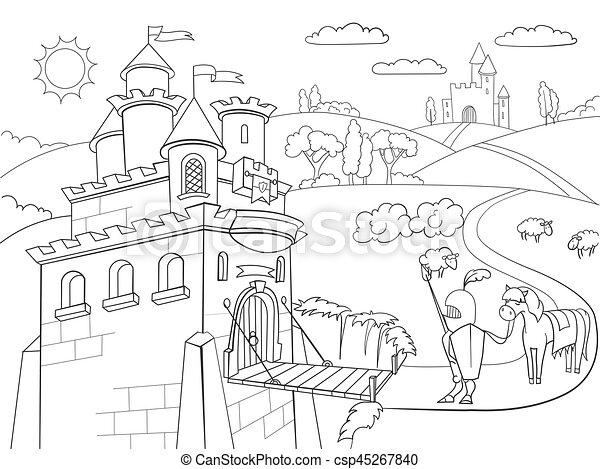 Kids Coloring cartoon knightly castle vector - csp45267840