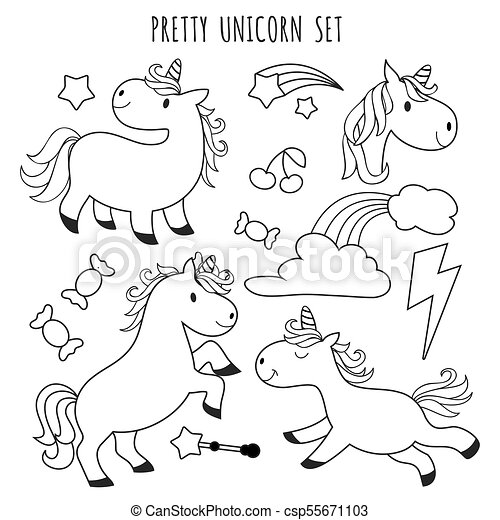 kids coloring page unicorn set for coloring book