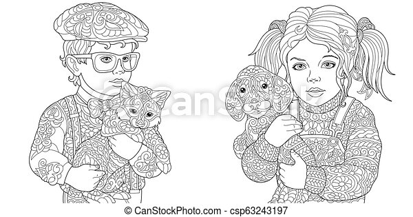 Kids Coloring Pages - csp63243197