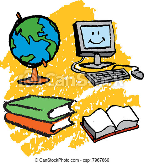 kids computer kids drawing of computer globe and books clip art rh canstockphoto ca