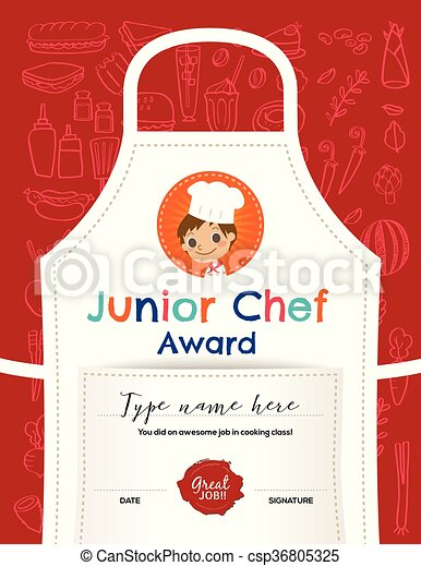 Kids cooking class certificate design template with junior chef ...